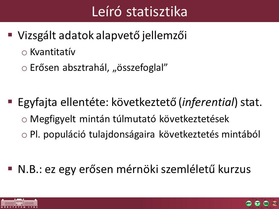 Leíró statisztika Vizsgált adatok alapvető jellemzői
