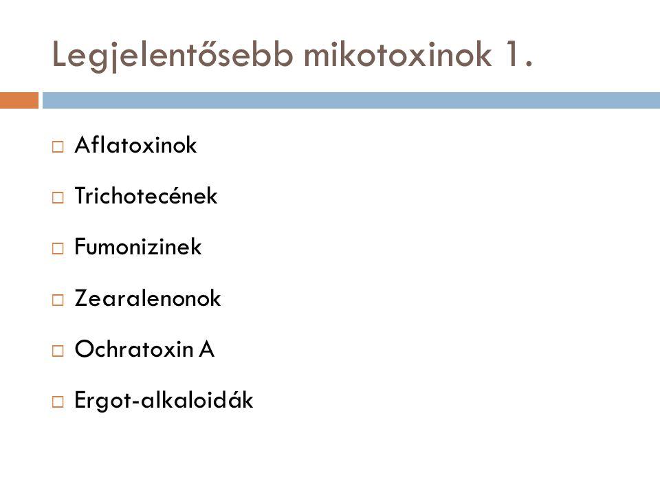 Legjelentősebb mikotoxinok 1.