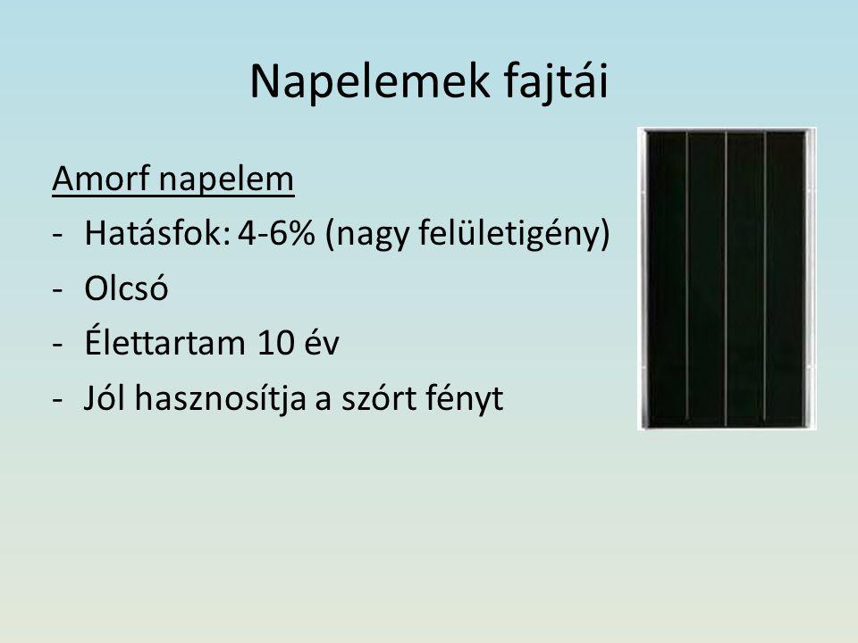 Napelemek fajtái Amorf napelem Hatásfok: 4-6% (nagy felületigény)