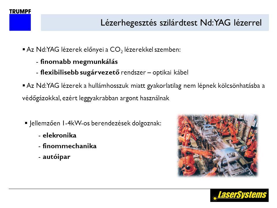 Lézerhegesztés szilárdtest Nd:YAG lézerrel