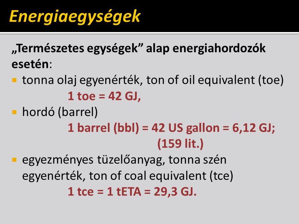 """Energiaegységek """"Természetes egységek alap energiahordozók esetén:"""
