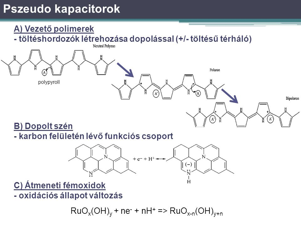 Pszeudo kapacitorok A) Vezető polimerek