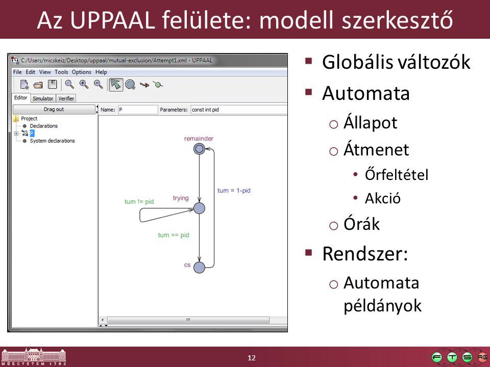 Az UPPAAL felülete: modell szerkesztő