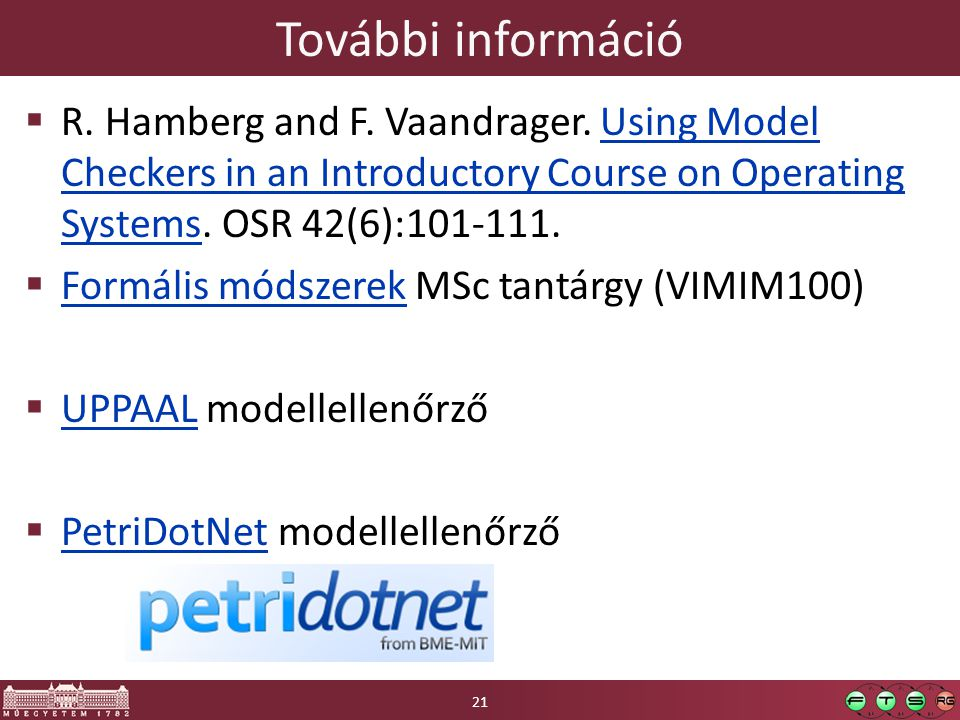 További információ R. Hamberg and F. Vaandrager. Using Model Checkers in an Introductory Course on Operating Systems. OSR 42(6):101-111.