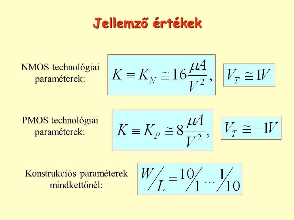 Jellemző értékek NMOS technológiai paraméterek: