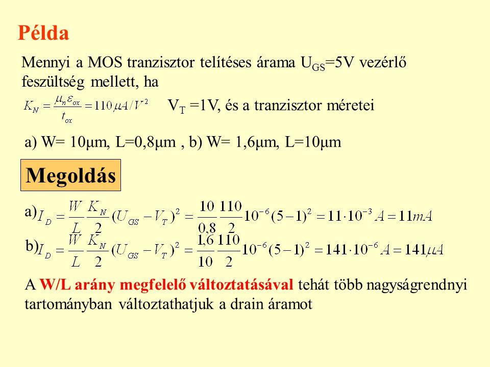 Példa Mennyi a MOS tranzisztor telítéses árama UGS=5V vezérlő feszültség mellett, ha. VT =1V, és a tranzisztor méretei.