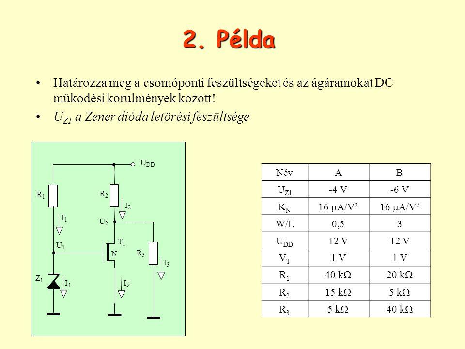 2. Példa Határozza meg a csomóponti feszültségeket és az ágáramokat DC működési körülmények között!