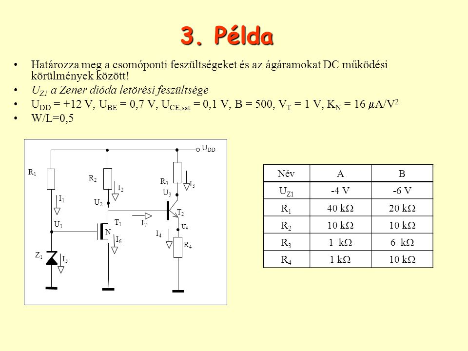 3. Példa Határozza meg a csomóponti feszültségeket és az ágáramokat DC működési körülmények között!