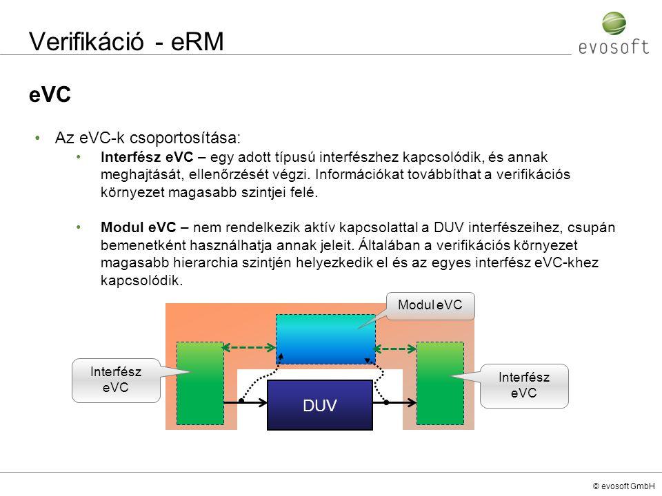Verifikáció - eRM eVC Az eVC-k csoportosítása: DUV