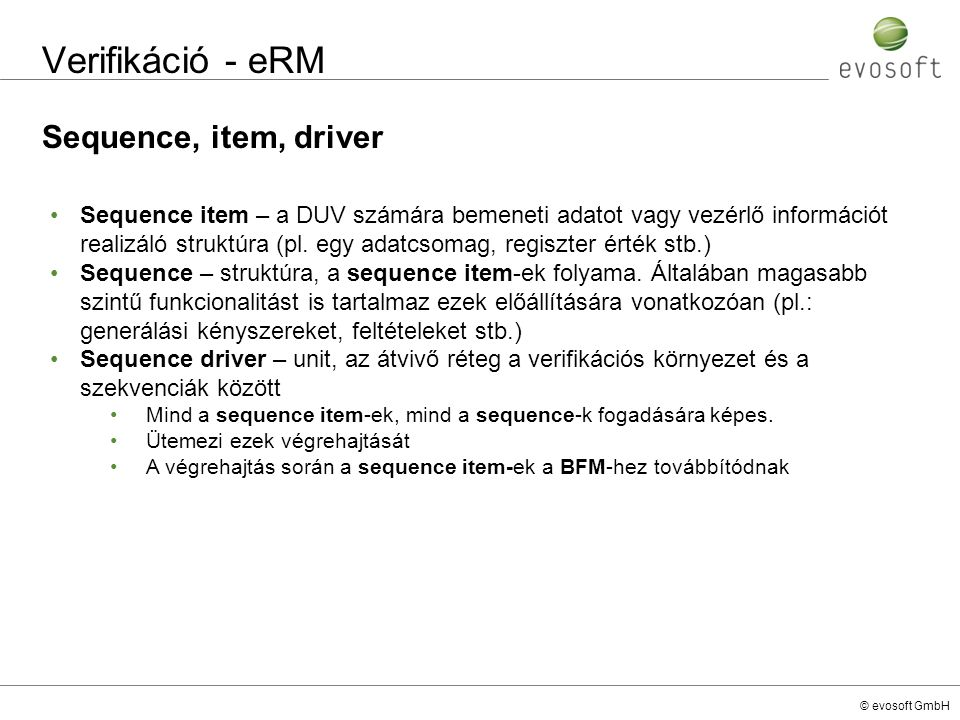 Verifikáció - eRM Sequence, item, driver