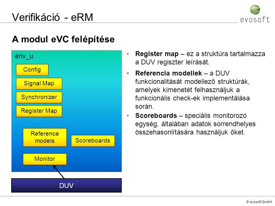 Verifikáció - eRM A modul eVC felépítése