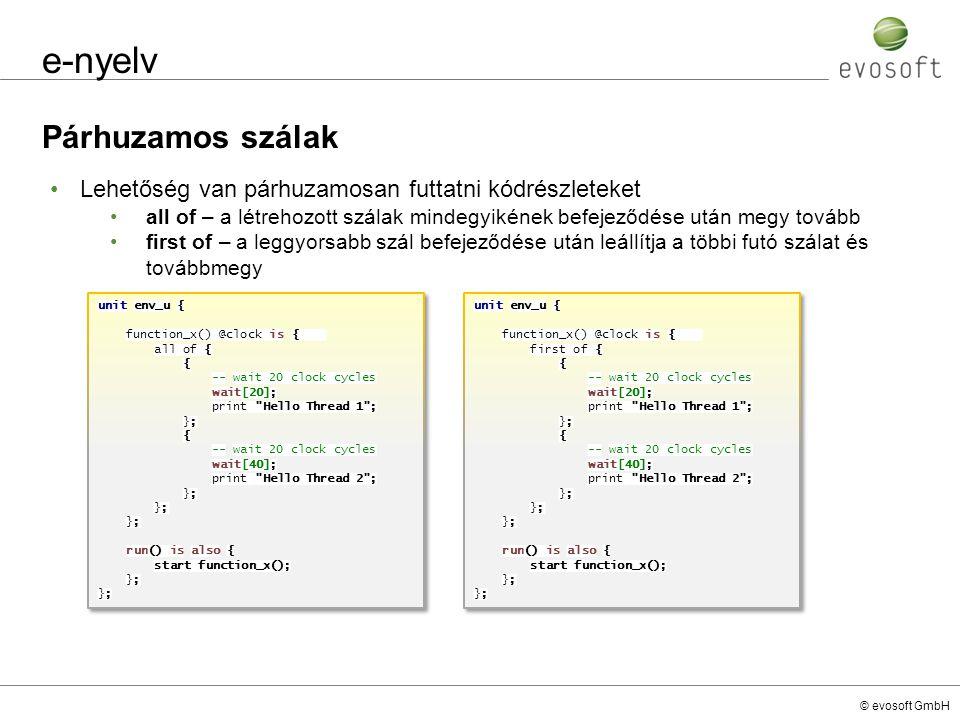 e-nyelv Párhuzamos szálak