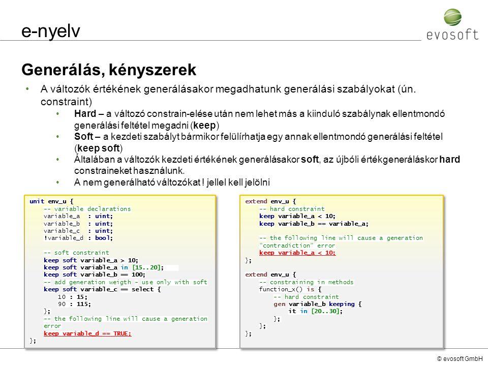 e-nyelv Generálás, kényszerek