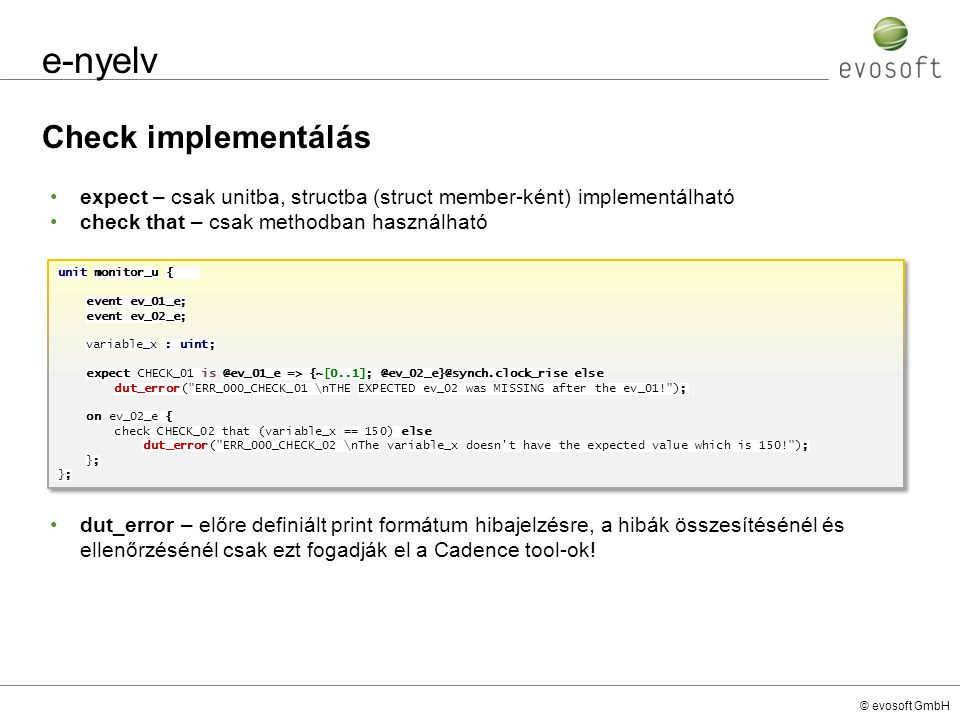 e-nyelv Check implementálás