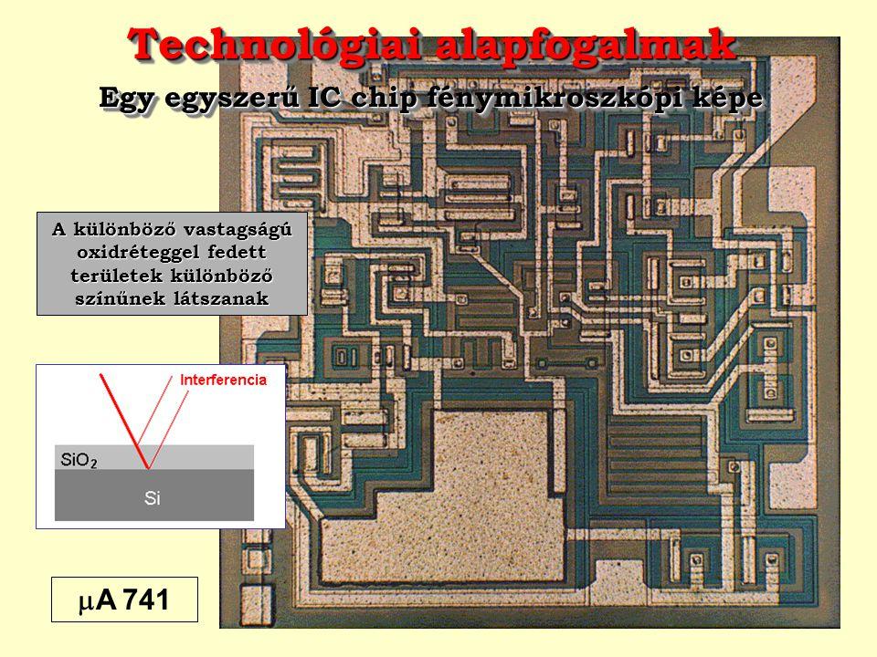 Technológiai alapfogalmak Egy egyszerű IC chip fénymikroszkópi képe