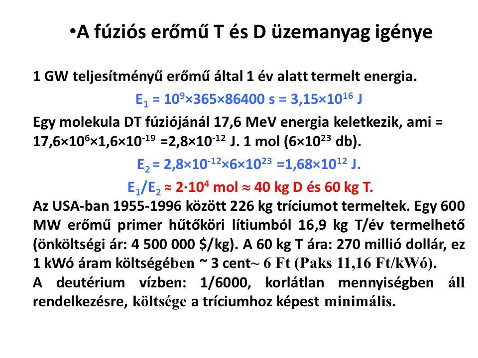 A fúziós erőmű T és D üzemanyag igénye