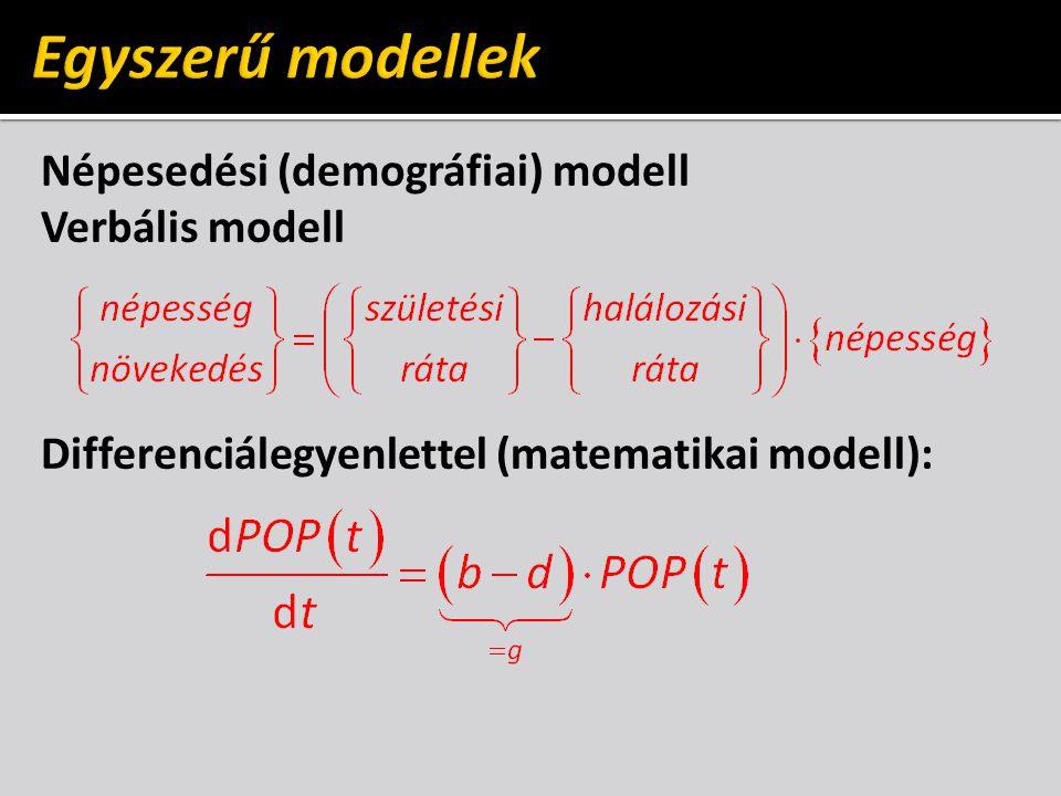 Egyszerű modellek Népesedési (demográfiai) modell Verbális modell Differenciálegyenlettel (matematikai modell):
