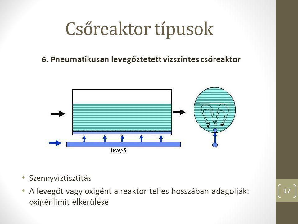 6. Pneumatikusan levegőztetett vízszintes csőreaktor