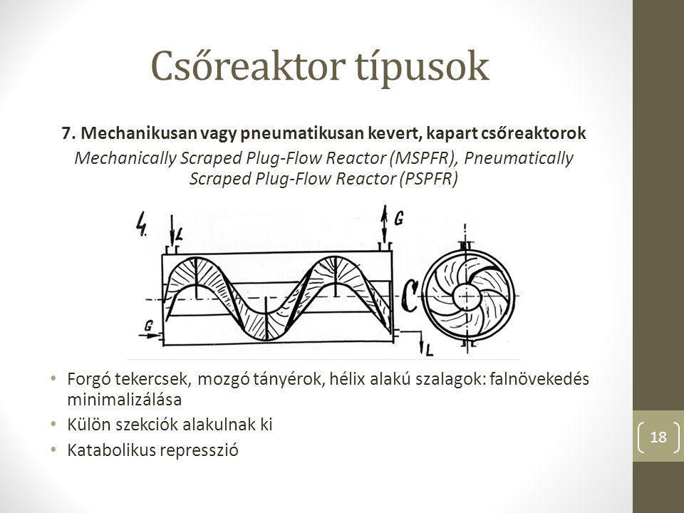 7. Mechanikusan vagy pneumatikusan kevert, kapart csőreaktorok