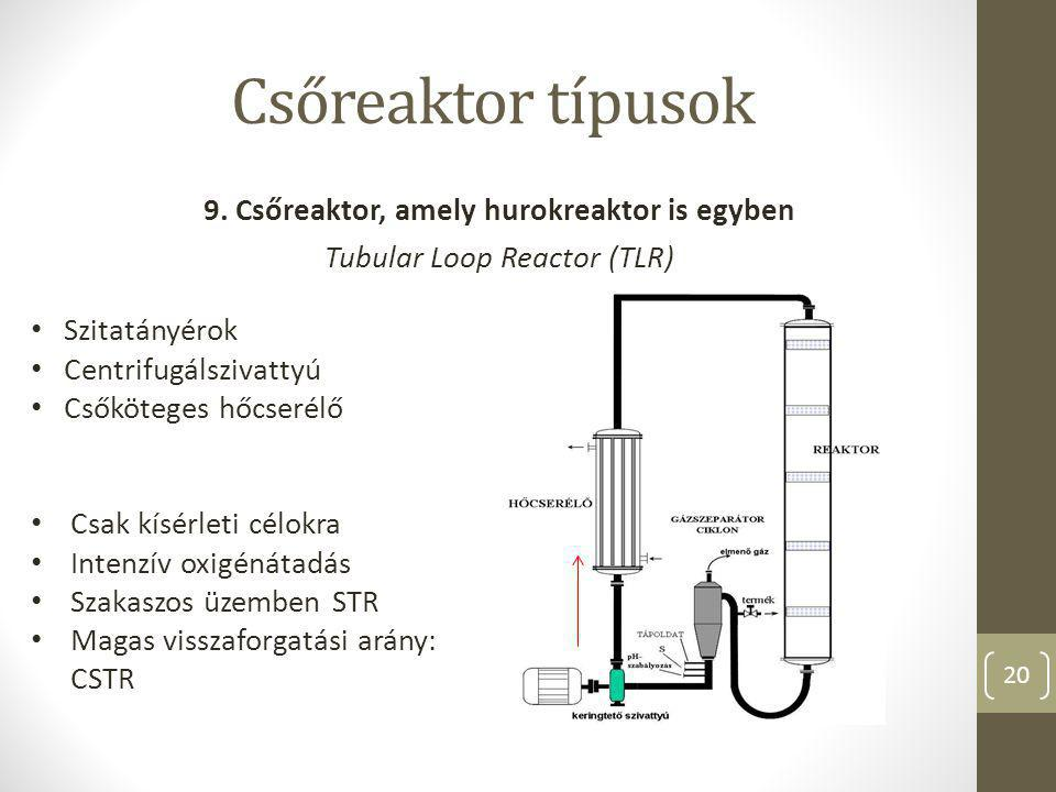 9. Csőreaktor, amely hurokreaktor is egyben Tubular Loop Reactor (TLR)