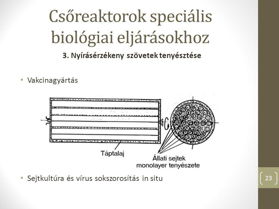 Csőreaktorok speciális biológiai eljárásokhoz