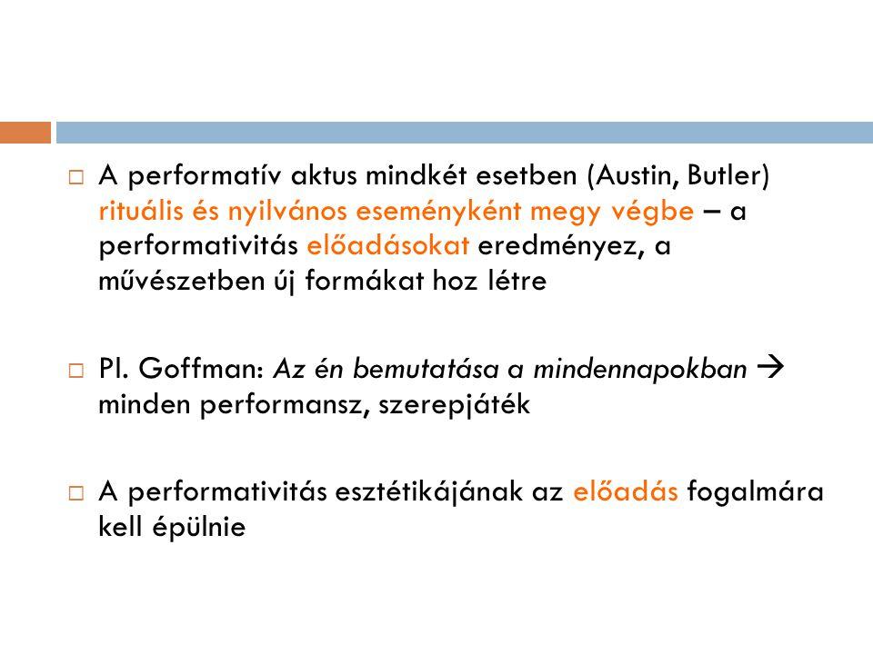 A performatív aktus mindkét esetben (Austin, Butler) rituális és nyilvános eseményként megy végbe – a performativitás előadásokat eredményez, a művészetben új formákat hoz létre