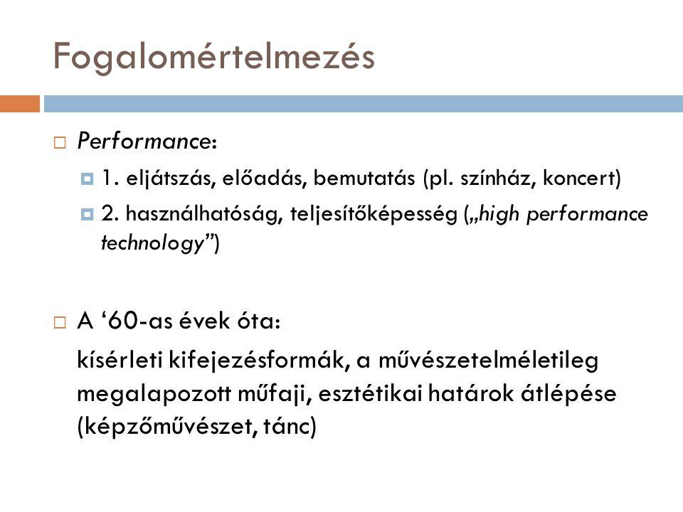 Fogalomértelmezés Performance: A '60-as évek óta: