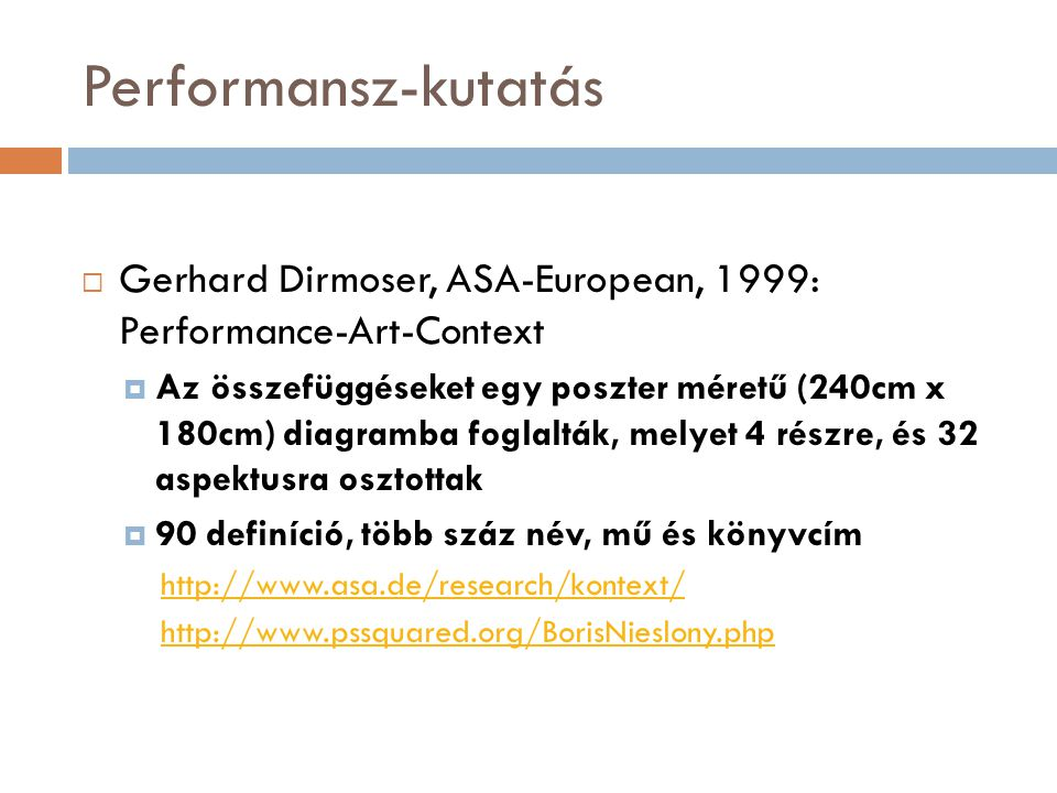 Performansz-kutatás Gerhard Dirmoser, ASA-European, 1999: Performance-Art-Context.