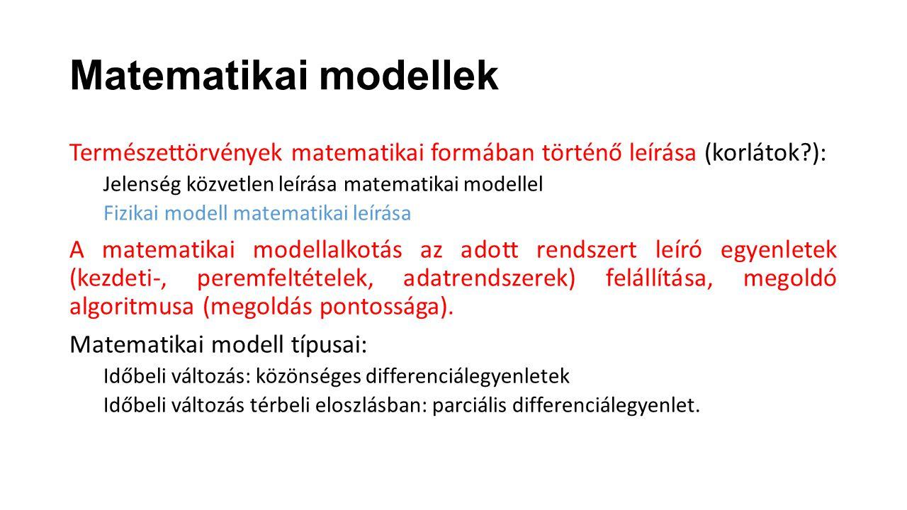 Matematikai modellek Természettörvények matematikai formában történő leírása (korlátok ): Jelenség közvetlen leírása matematikai modellel.