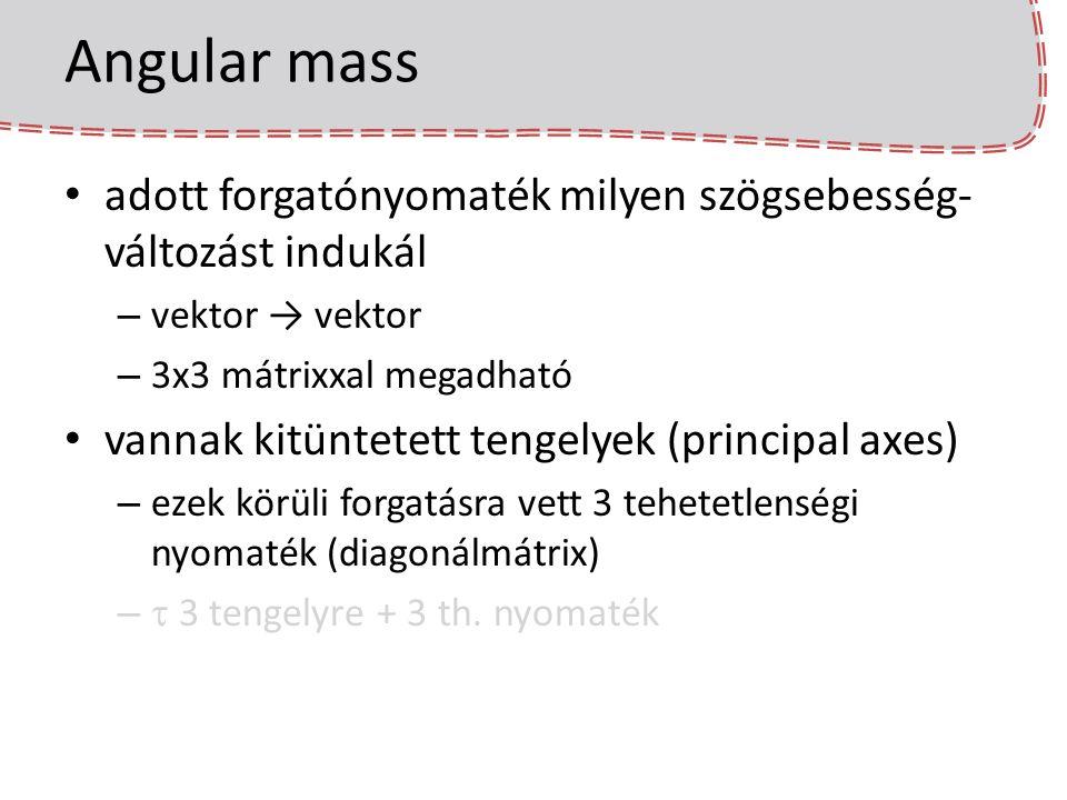 Angular mass adott forgatónyomaték milyen szögsebesség-változást indukál. vektor → vektor. 3x3 mátrixxal megadható.