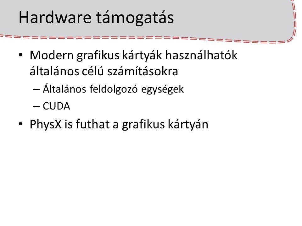 Hardware támogatás Modern grafikus kártyák használhatók általános célú számításokra. Általános feldolgozó egységek.