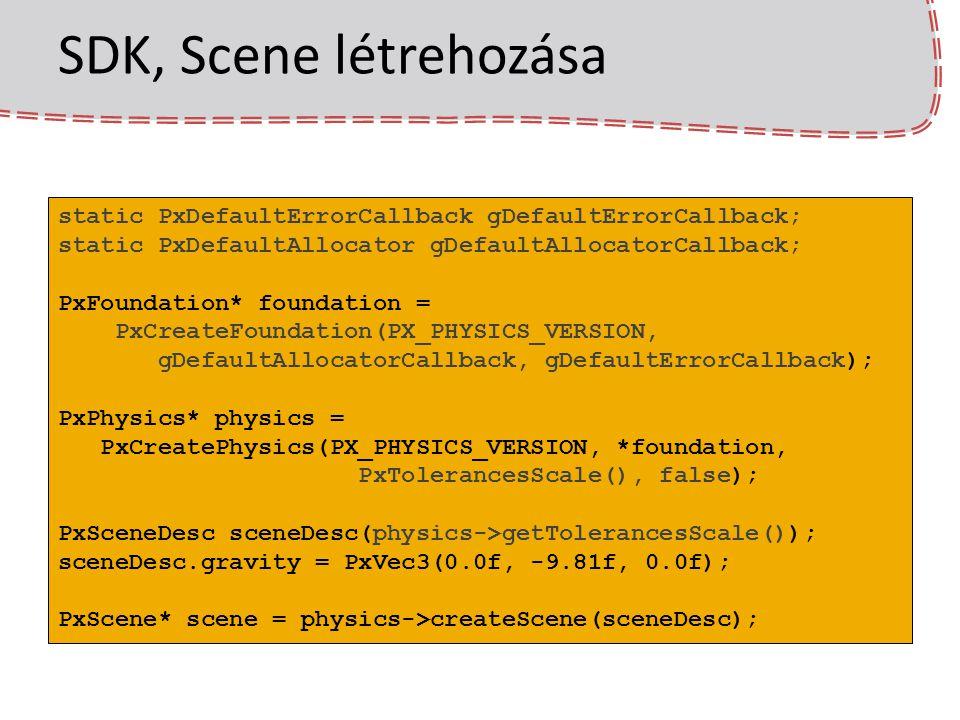 SDK, Scene létrehozása static PxDefaultErrorCallback gDefaultErrorCallback; static PxDefaultAllocator gDefaultAllocatorCallback;