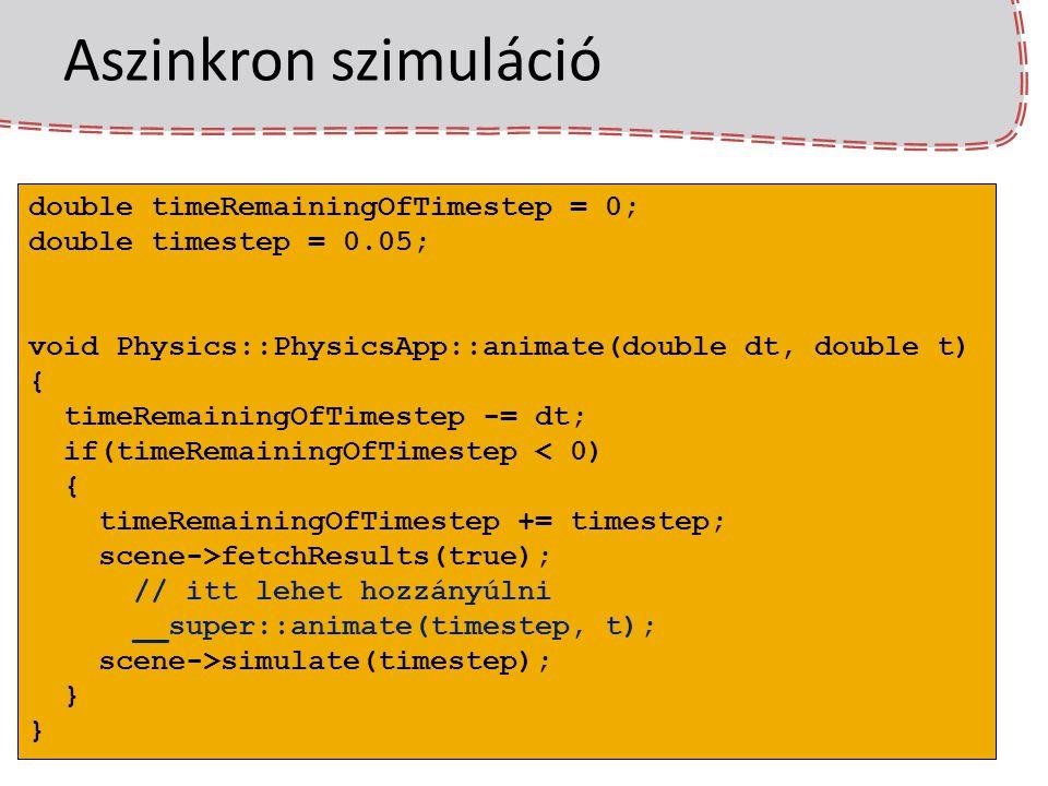 Aszinkron szimuláció double timeRemainingOfTimestep = 0;