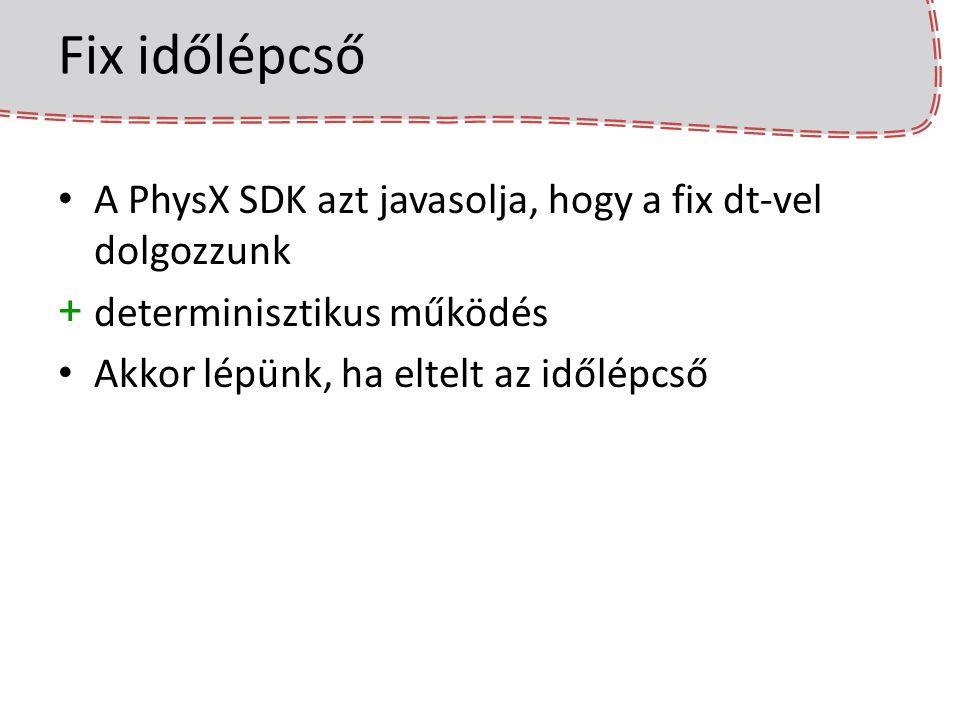 Fix időlépcső A PhysX SDK azt javasolja, hogy a fix dt-vel dolgozzunk