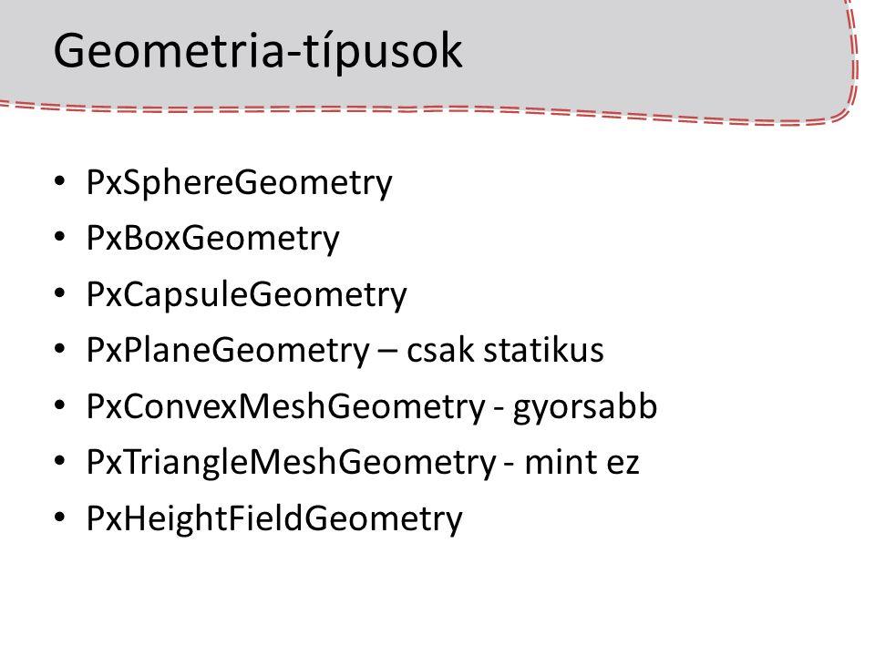 Geometria-típusok PxSphereGeometry PxBoxGeometry PxCapsuleGeometry
