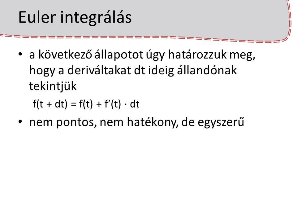 Euler integrálás a következő állapotot úgy határozzuk meg, hogy a deriváltakat dt ideig állandónak tekintjük.