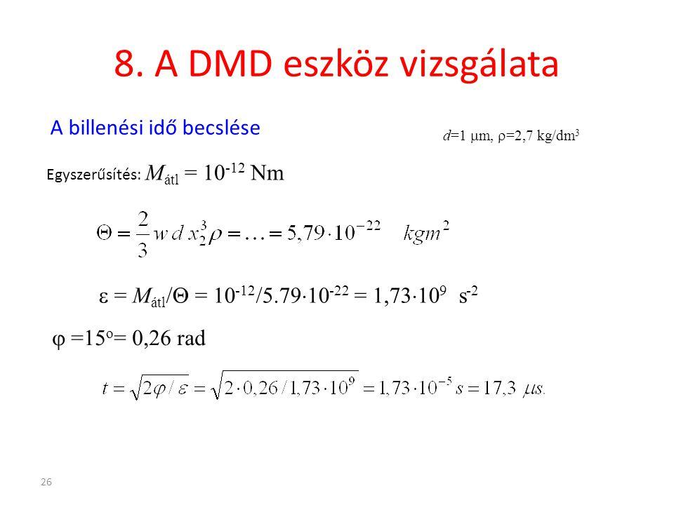 8. A DMD eszköz vizsgálata