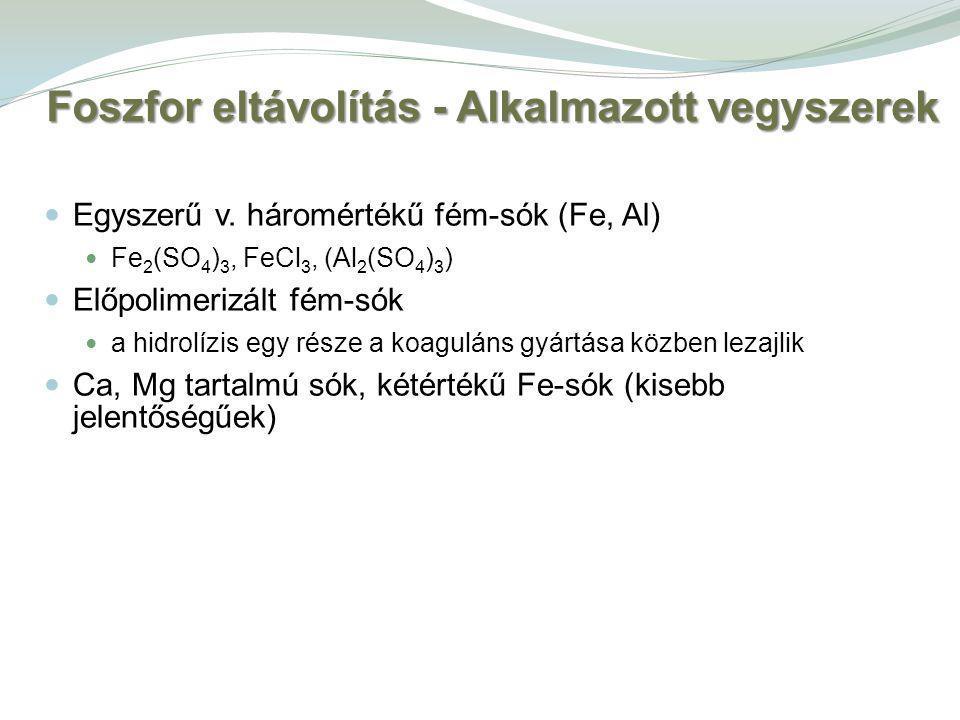 Foszfor eltávolítás - Alkalmazott vegyszerek