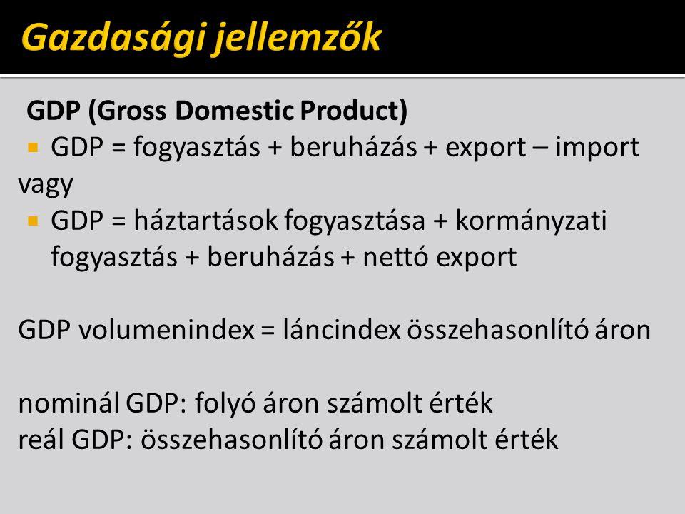 Gazdasági jellemzők GDP (Gross Domestic Product)