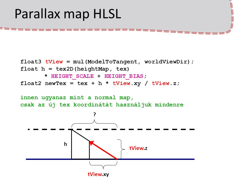 Parallax map HLSL float3 tView = mul(ModelToTangent, worldViewDir);