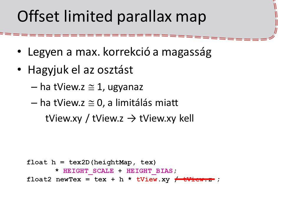 Offset limited parallax map