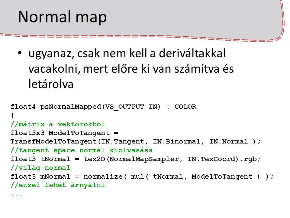 Normal map ugyanaz, csak nem kell a deriváltakkal vacakolni, mert előre ki van számítva és letárolva.