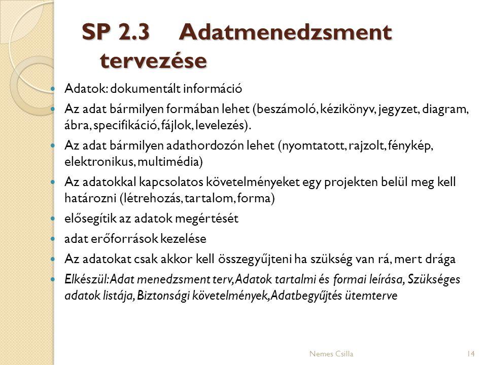 SP 2.3 Adatmenedzsment tervezése