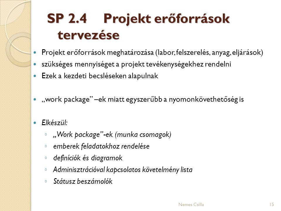 SP 2.4 Projekt erőforrások tervezése