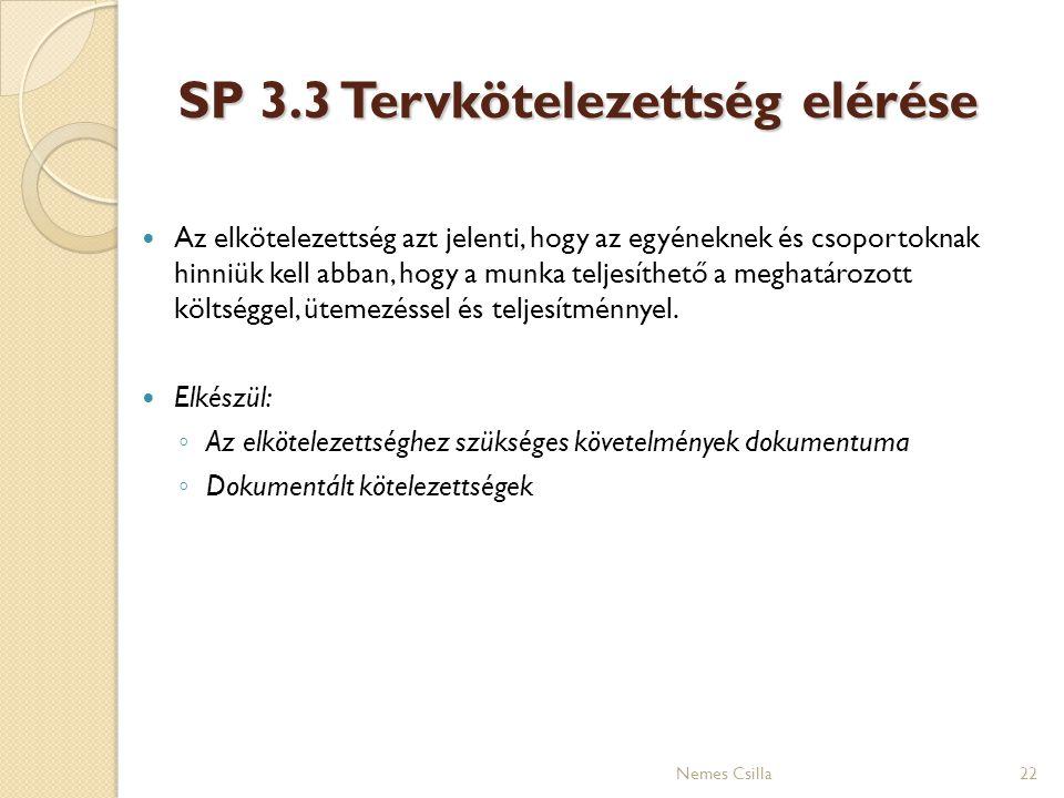 SP 3.3 Tervkötelezettség elérése