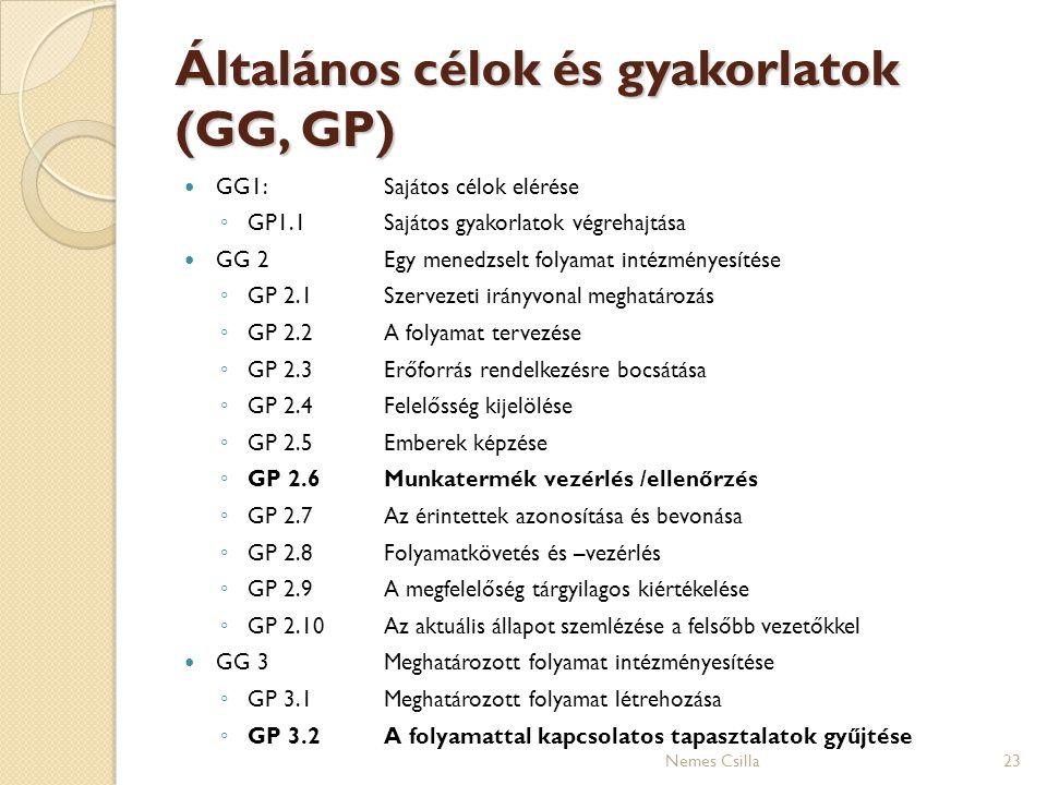 Általános célok és gyakorlatok (GG, GP)