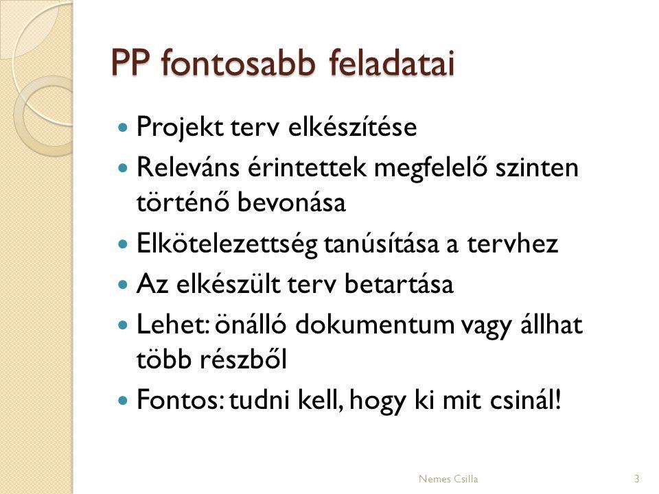 PP fontosabb feladatai