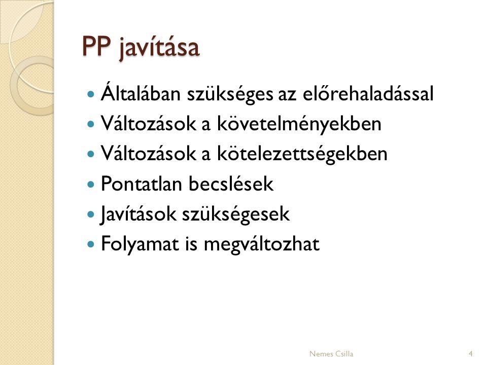 PP javítása Általában szükséges az előrehaladással