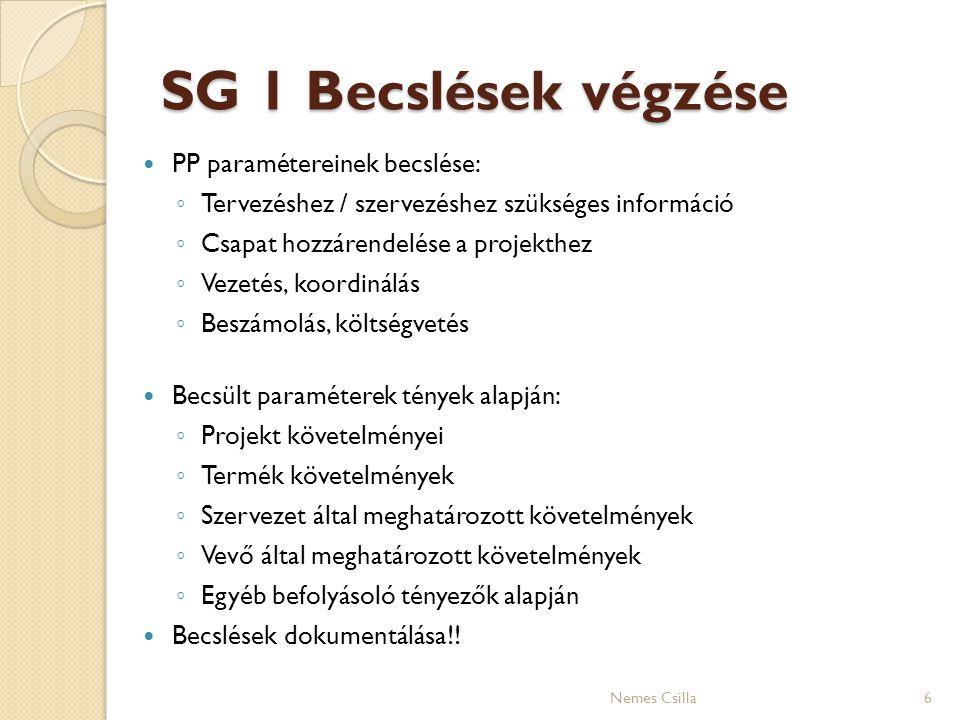 SG 1 Becslések végzése PP paramétereinek becslése: