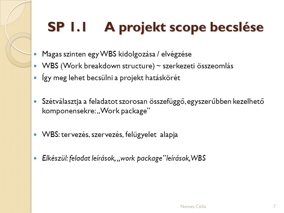 SP 1.1 A projekt scope becslése